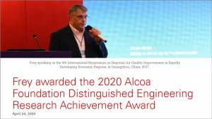 Frey awarded the 2020 Alcoa Foundation Distinguished Engineering Research Achievement Award